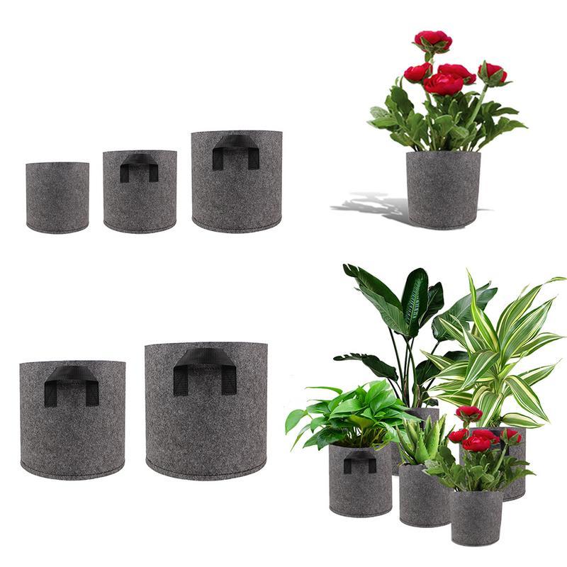 1/2/3/5/7/10 Gallon Black Felt Pots Garden Plant Grow Bag Pouch Root Container Garden Pots Planters Supplies