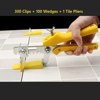Accurate Tile Leveling System 300 Clips +100 Wedges + 1 Tile Pliers Floor Wall Flat Leveler Plastic Spacers Constructions Tools