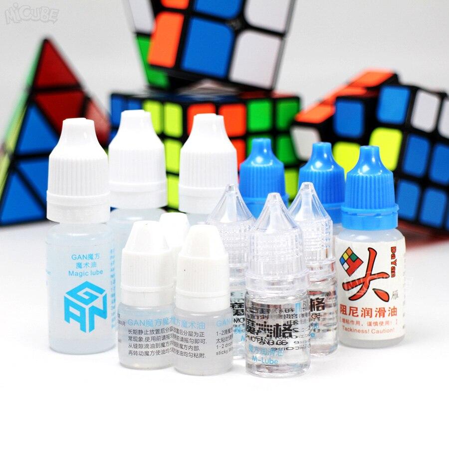 Lubrifiant de Cube de vitesse magique pour MoYu QiYi Mofangge Gan Dayan lubrifiant de cube de vitesse 3ml 5ml 10ml m-lubrifiant huile de cube silicone lubrifiants 1pc