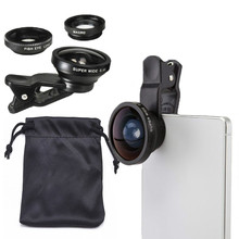 3-in-1 Wide Angle Macro Fisheye Lens Camera Kits Mobile Phone Fish Eye Lenses with Clip 0.4x for iPhone Samsung All Cell Phones