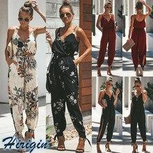 Summer Women Jumpsuits 2019 New Sleeveless V-Neck Strap Backless Jumpsuit Lace Up High Waist Slim