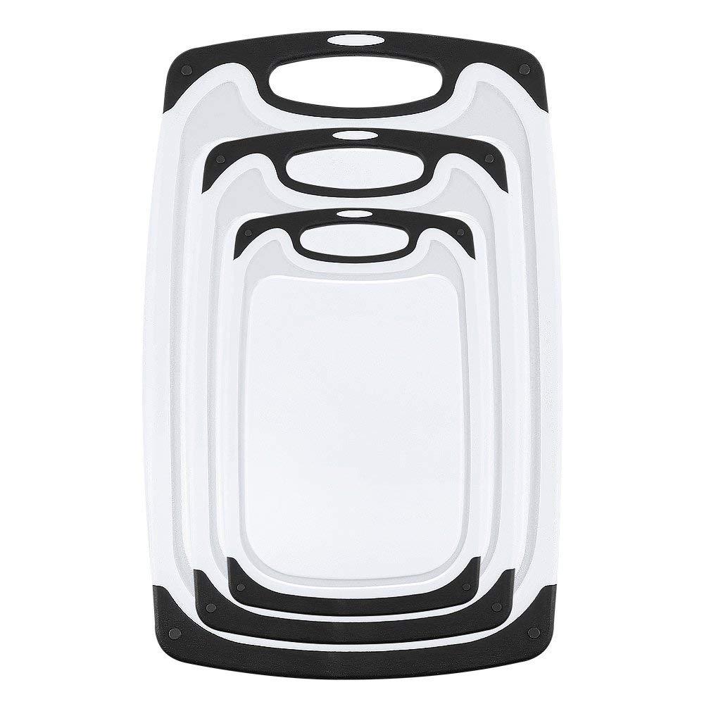 Hot 3 taglieri di plastica adatto per lavastoviglie con piedini antiscivolo e anti-gocciolamento scanalatura (nero)