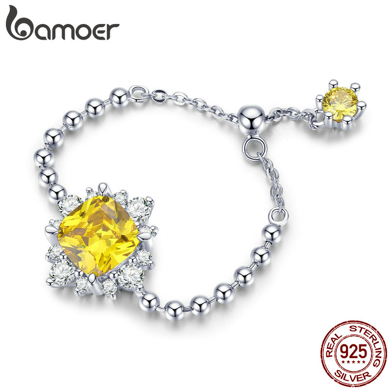BAMOER High Quality 100% 925 Sterling Silver Geometric Simple Zircon Chain Rings For Women Wedding Engagement Jewelry SCR484