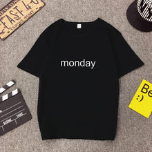 MONDAY Print Women T shirt Spring Summer New Style Short Sleeve O Neck Tops Tees Casual Slim Fit Tee Femme