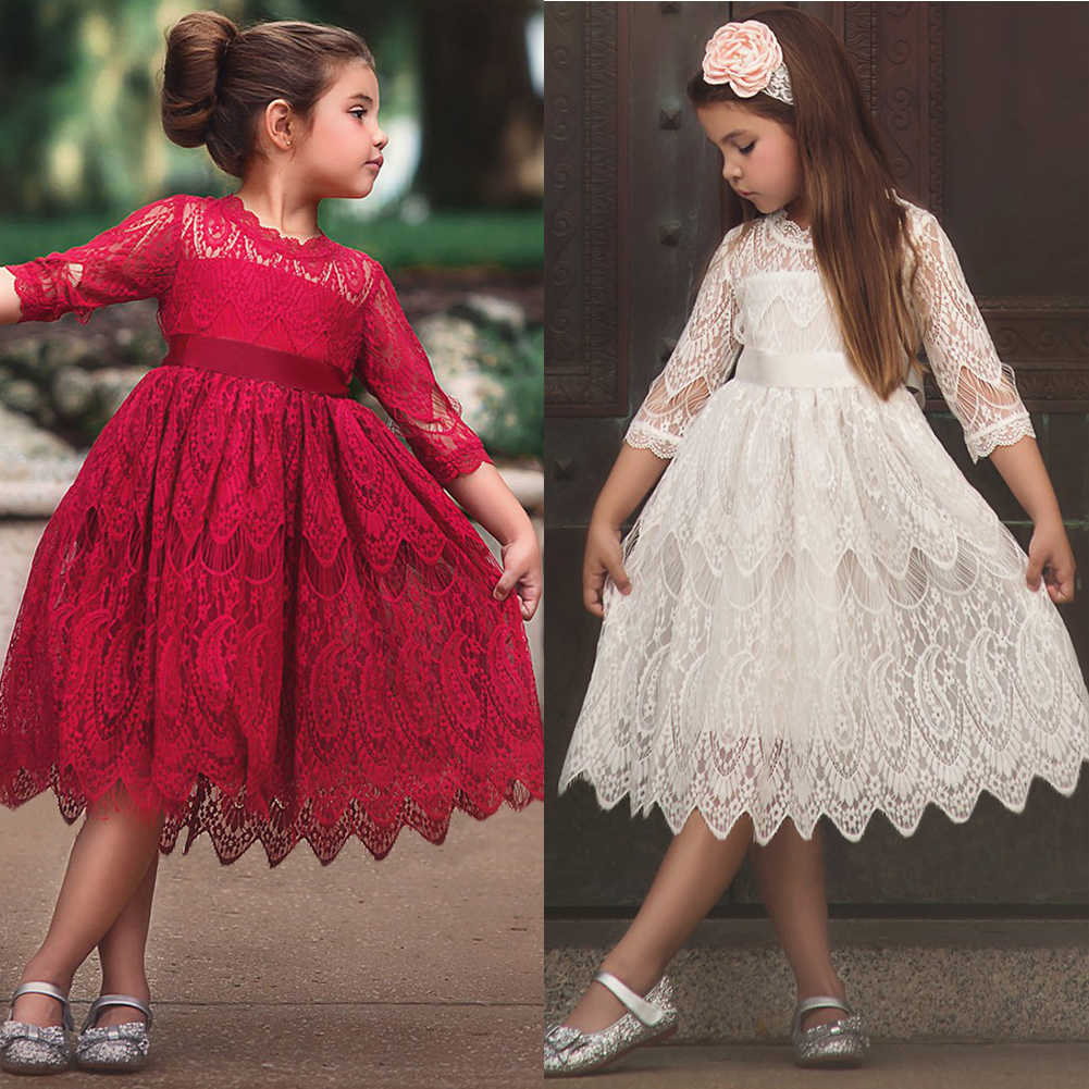 Pudcoco New Brand Kids Baby Girls Lace Floral Princess Party Pageant Gown Sweet Dress