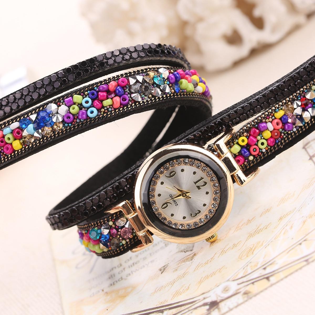Fashion Luxury Leather Watch Kvinnor Classic Crystal Decor Armband - Damklockor - Foto 4