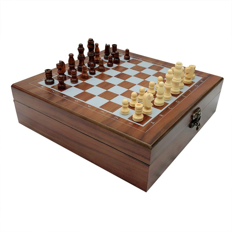 Wooden Chess Divination Games Poker Cards Dominos 4 in 1 Set Recreation and Entertainment Supplies