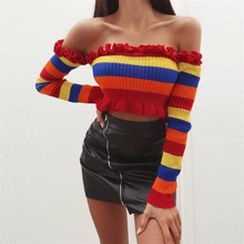 Rainbow Striped Women Sweater Long Sleeve Ruffles Off Shoulder Slash Neck Pullover Sweater 2019 Spring Sexy Crop Top Knitwear long sleeves striped pullover knitwear