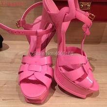 Vinapobo Quality Patent Leather Stiletto High Heel Gladiator Sandals Women Sexy Footwear Lady Shoes Platform Party Wedding Shoes цены онлайн