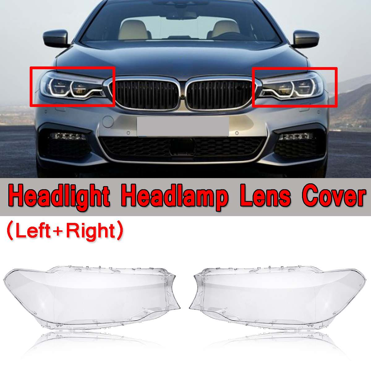 New Left / Right Car Front Bumper Headlight Headlamp Lens Cover Shell Case Replacement For BMW 5 Series G30 2017 2018 4769886123