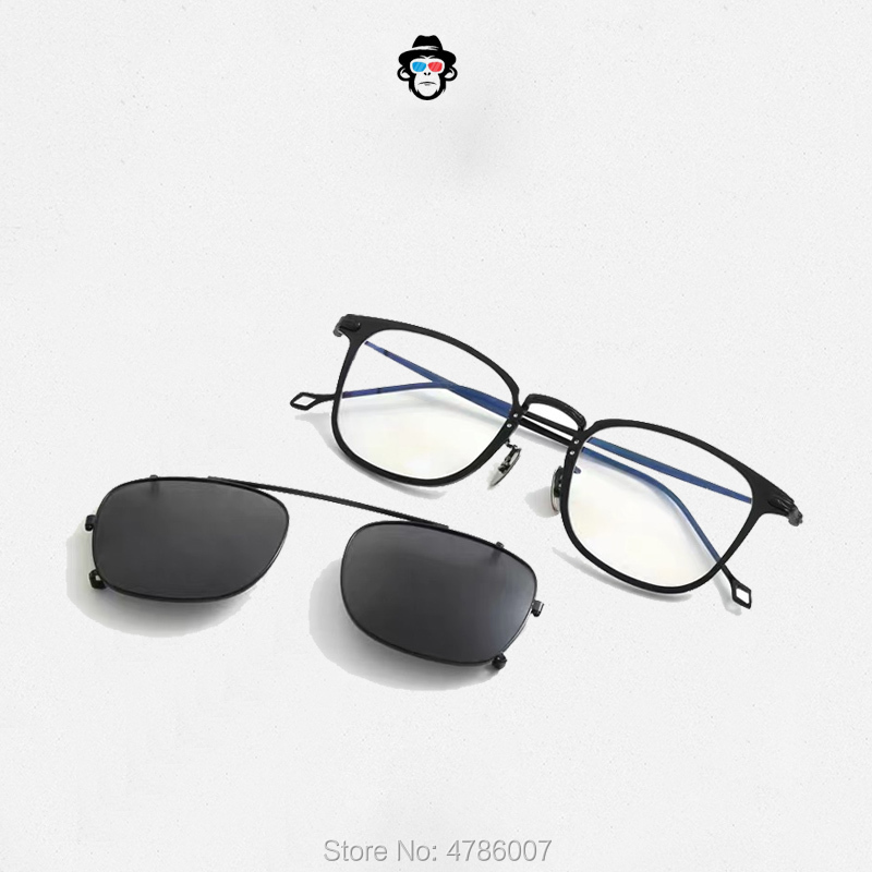2019 Fashion Square Titanium prescription eyeglasses Frames with clip POLARIZED Sunglasses Men Ultralight Driving Brand Design