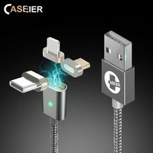 CASEIER 3 in 1 Magnetic Cable For Apple iPhone IOS Type C Micro USB Magnet Fast Charge LED Nylon Cable For Samsung Huawei Xiaomi(China)