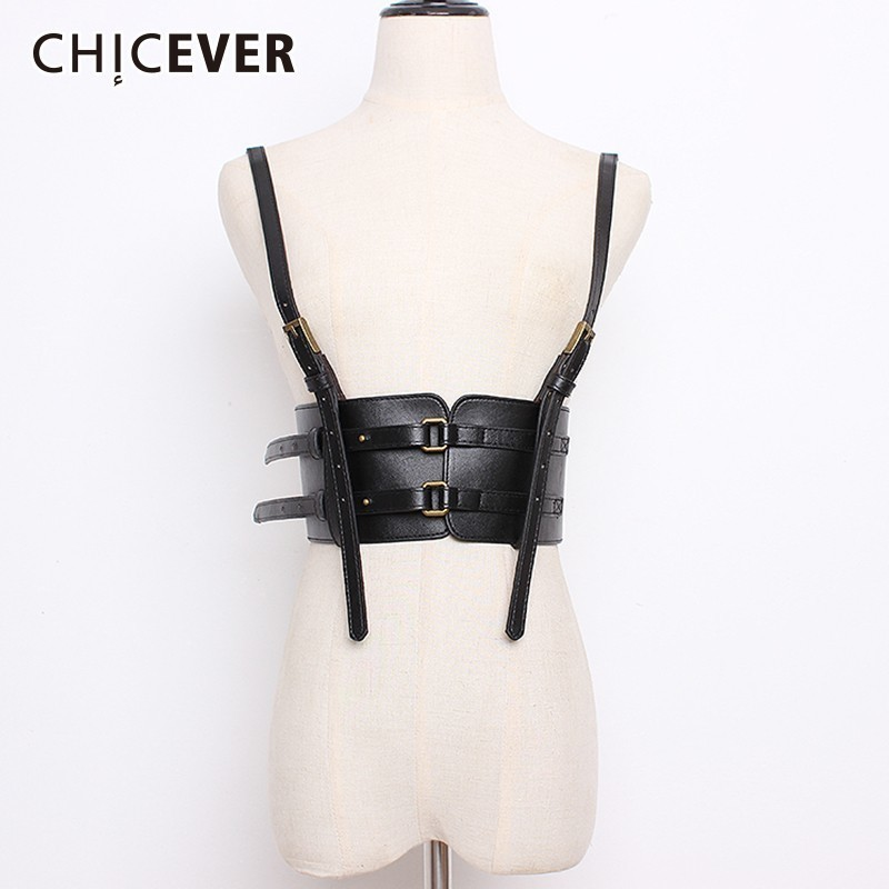 CHICEVER Autumn Winter Suspender Wide Belt For Women Elastic Corset Women's Belts Female Dress Accessories Korean Fashion Tide