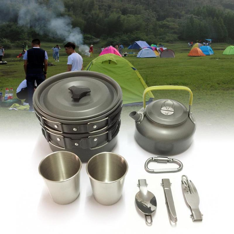 Camping & Hiking Campcookingsupplies Outdoor Camping Cookware Set Portable Tableware Cooking For Camping Travel Cutlery Utensils Pot Pan Hiking Picnic Tools