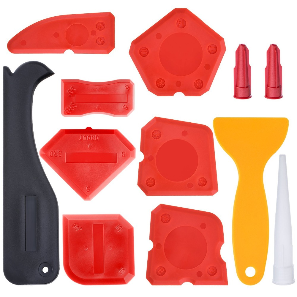 Free Ship Quality 12 Pieces Caulking Tool Kit Silicone Sealant Finishing Tool Sealant Scraper Silicone Trowel Sealant Finisher