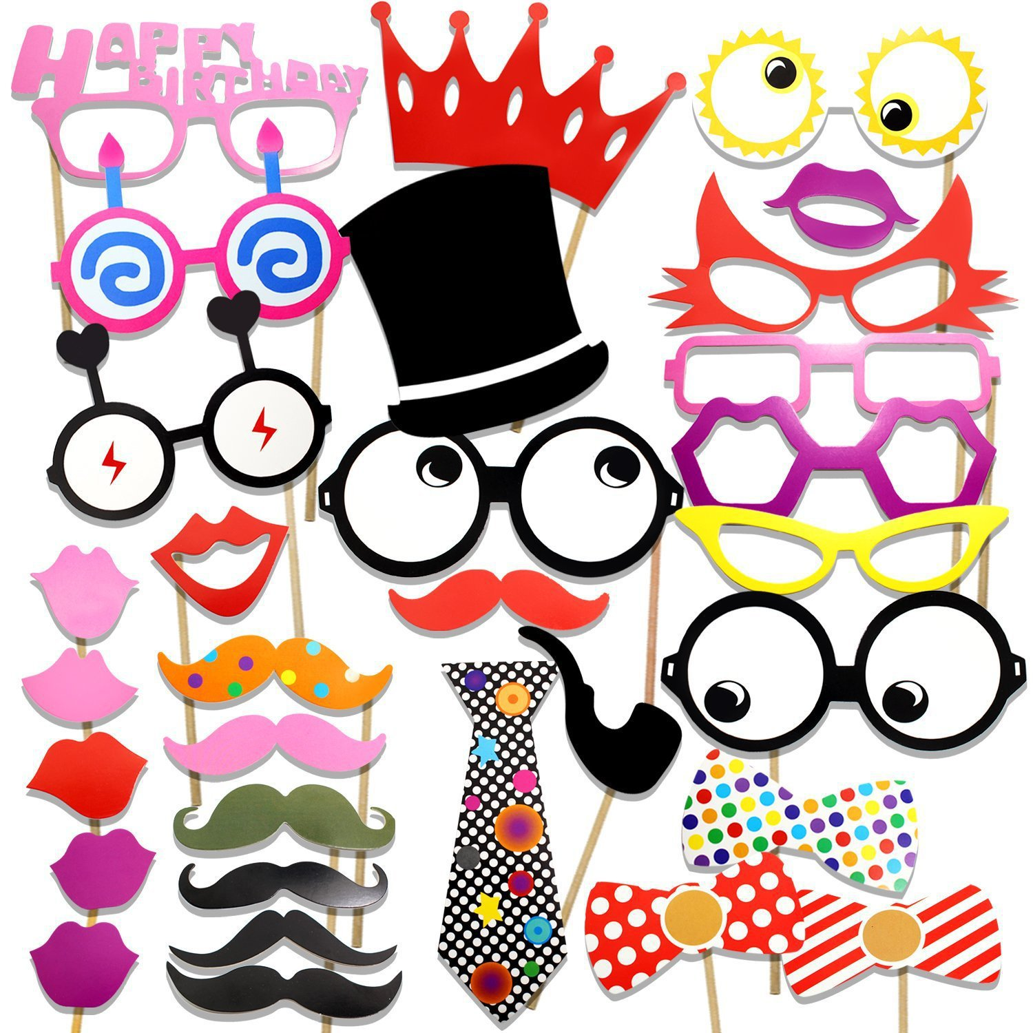31pcs Party Props Photobooth Accessories Funny Lips Mustache Pipe Photo Booth Props Photocall Kits