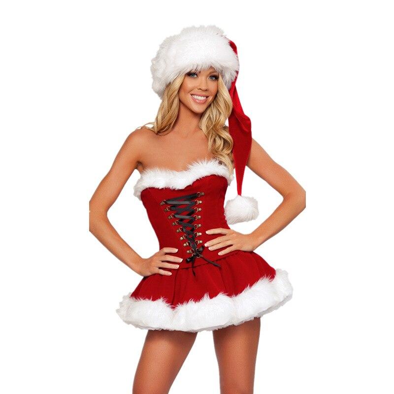 Women Velvet Santa Claus Mini Dress Outfit Christmas Sexy XMAS Fancy Dress Costume