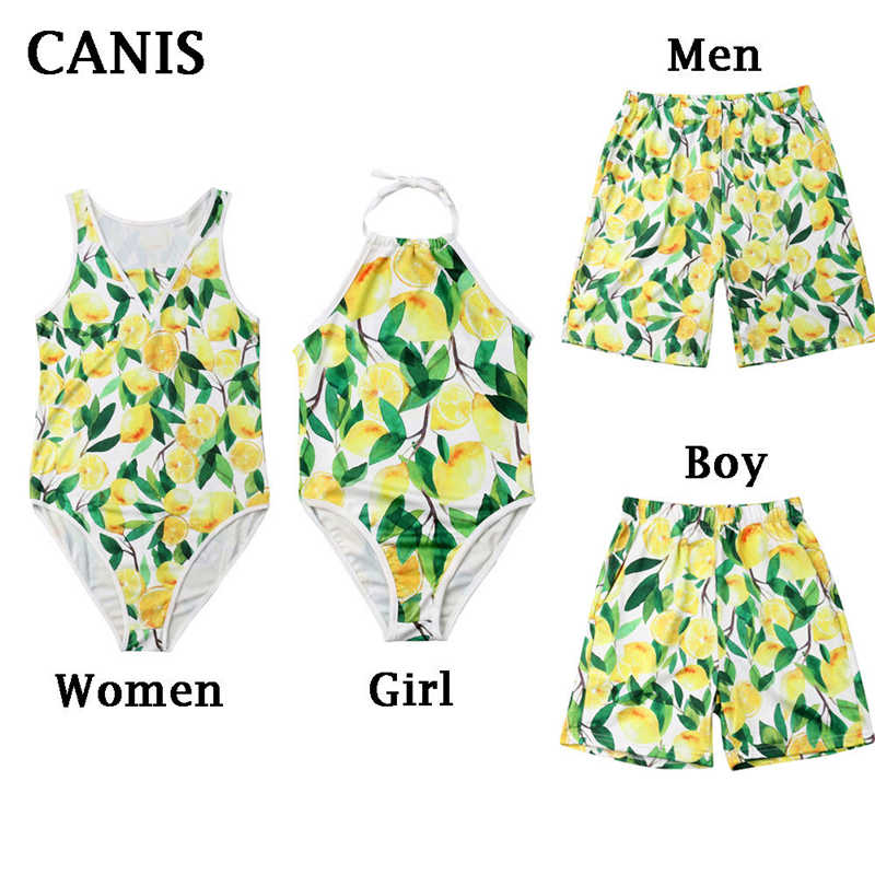 ccfa53a89ba0 Matching Swimsuit Lemon Print Bikini Women Swimwear Ladies Beachwear  Swimsuit One Piece Swimwear Swimming Trunks Matching