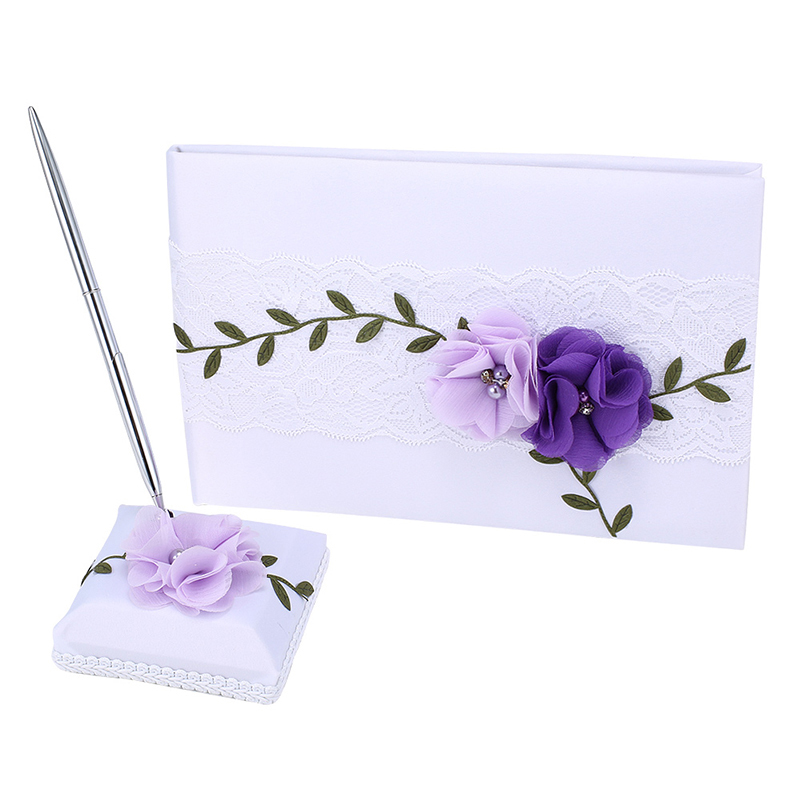 Wedding Engage Party Guest Book& Wedding Pen Set With Flowers Box Pink/ PurpleWedding Engage Party Guest Book& Wedding Pen Set With Flowers Box Pink/ Purple