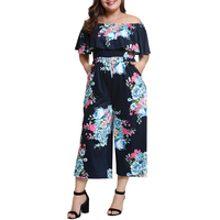 Print Rompers Womens Jumpsuit 2019 Plus Size Summer Sexy Body Slash Neck Off Shoulder Ruffles Playsuits Wide Leg Pants Overalls