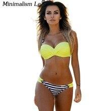 Minimalism Le 2018  Bikini Set Summer Low Waist Swimwear Women Sexy Beach Swimsuit Push Up Bathing Suit Biquini Maillot De Bain