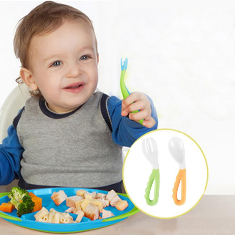 2018 New For Toddlers Easy-to-Hold Baby Feeding Curved Handle Spoon And Fork Tableware