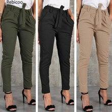 Casual Slim Chiffon Thin Pants For Women High Waist Black Khaki Green Trousers Female Cute Harajuku Clothing