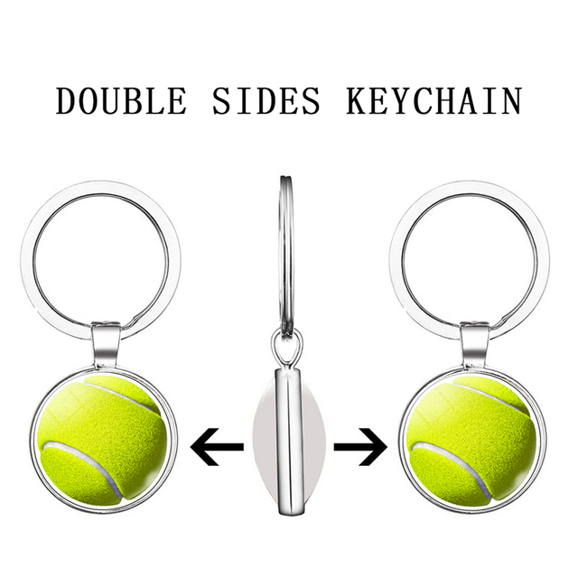 Soccer Basketball Tennis Volleyball Ball Sports Double Face Keychain Glass Cabochon Jewelry Pendant Key Chain Women Men Gifts