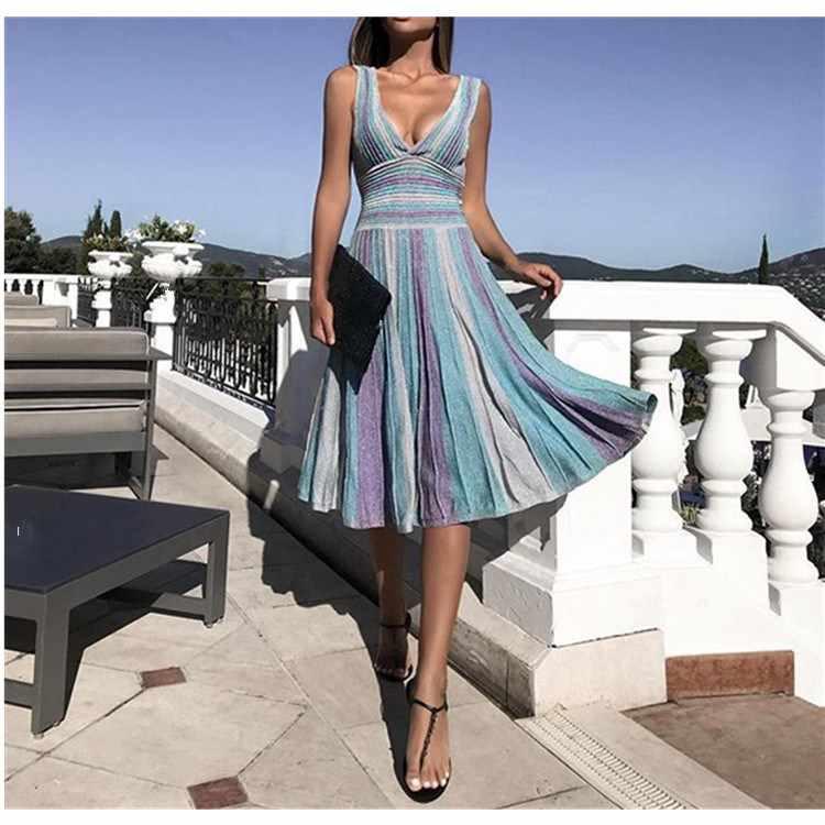 Женское летнее сексуальное платье миди с глубоким v-образным вырезом, в полоску, без рукавов, вечерние, для клуба, плиссированное, элегантное, тонкое, сарафан, платья до колен