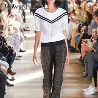 TWOTWINSTYLE Patchwork Diamond Tassel T shirts Women O Neck Short Sleeve Pullover Tops Female 2019 Spring Korean Fashion New