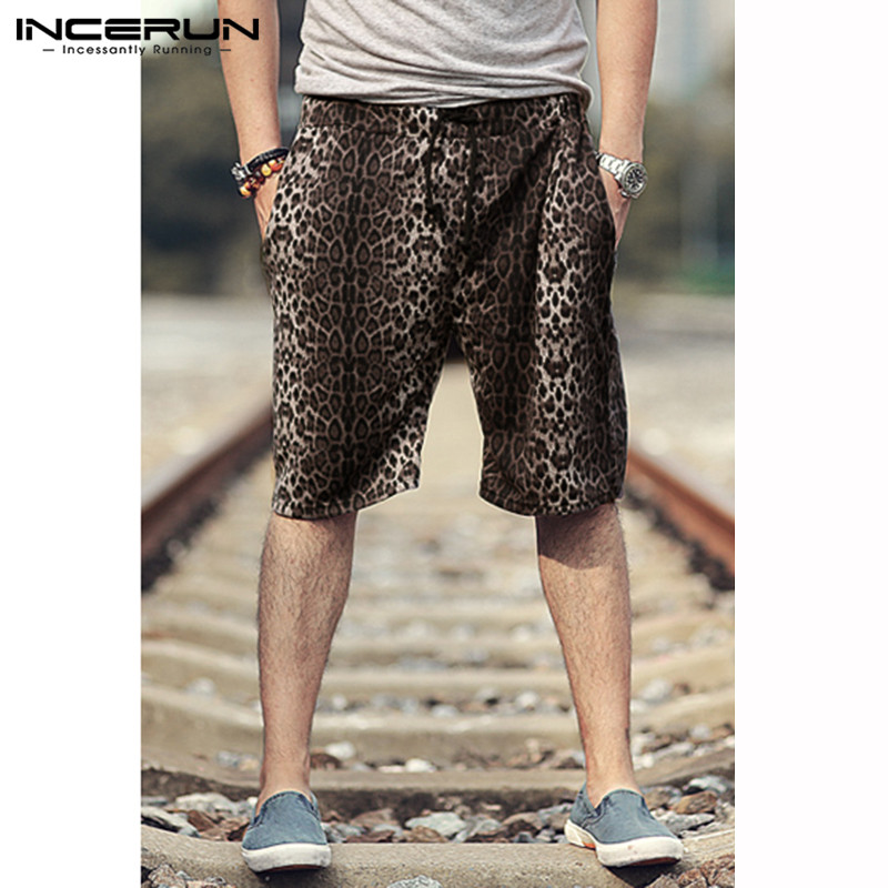 Fashion Leopard Print Men Shorts Pockets Drawstring Breathable Loose Casual Shorts Men Streetwear Bottoms 2019 Plus Size INCERUN