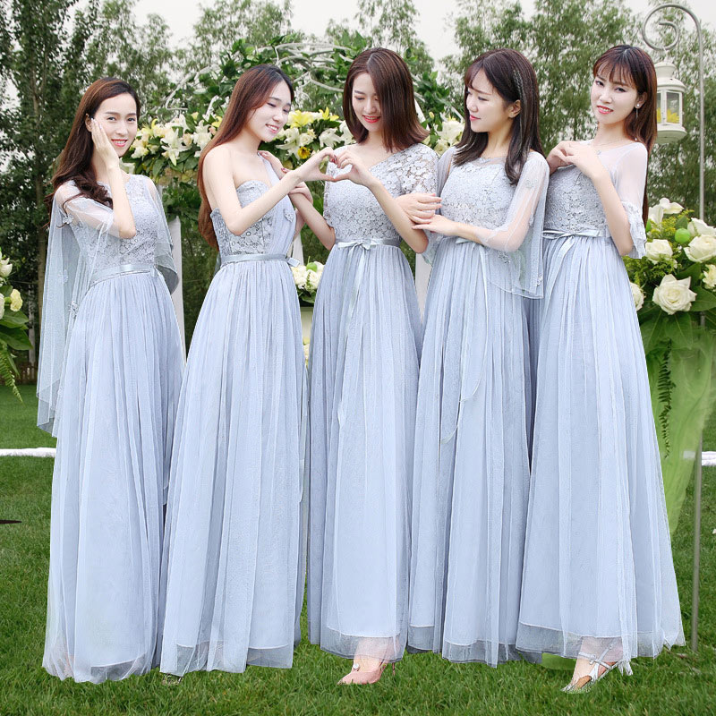 Lace Bridesmaid Dresses Chiffon Beach Garden Wedding Party Women Ladies Tulle Long Dress  Prom Dress