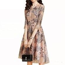 купить lace Dress Women 2018 Summer new flower knee-length Sexy elegant thin Fashion embroidery half hollow out female give best friend по цене 1953.28 рублей