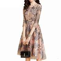 lace Dress Women 2018 Summer new flower knee length Sexy elegant thin Fashion embroidery half hollow out female give best friend