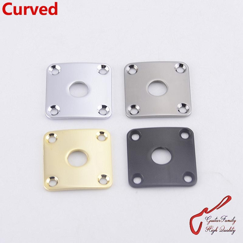 1 Piece GuitarFamily Square Curved  Metal Jack Plate For Electric Guitar Bass  ( #1063 ) MADE IN KOREA