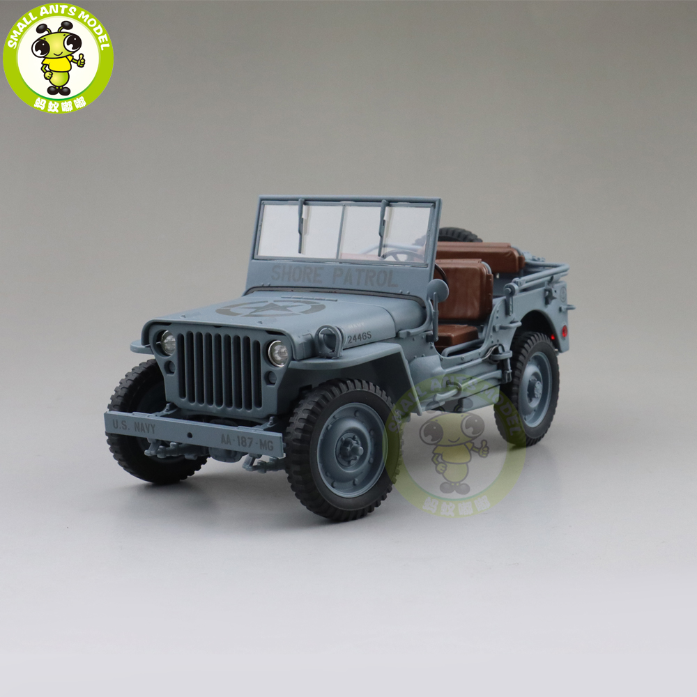 1/18 WELLY 1/4 Ton US ARMY WILLYS JEEP TOP DOWN Diecast Car Model Toys KIDS BOY GIRL GIFTS Gray