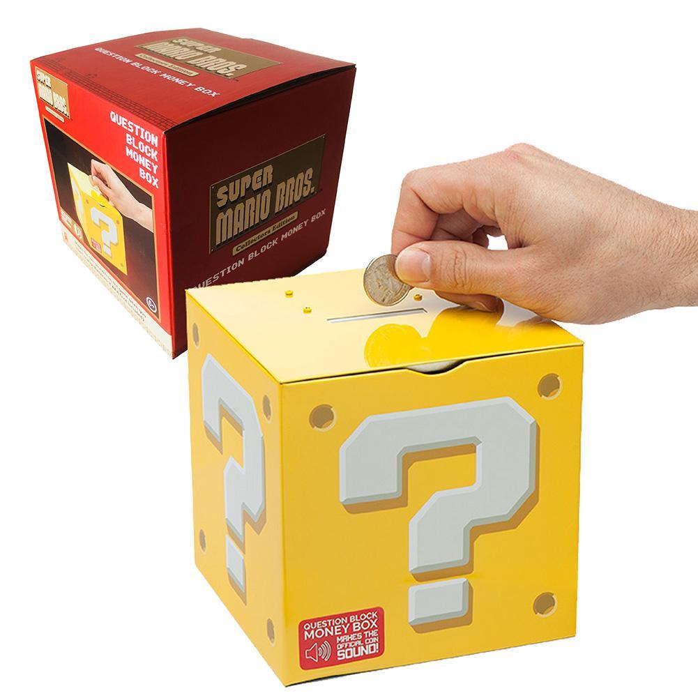 Super Mario Bros Question Pattern Block Money Box Moneybox Piggy Bank Saver Tin Children Puzzle Toy
