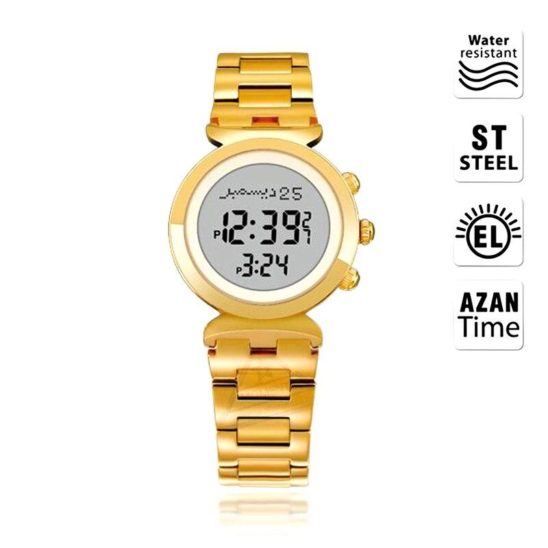 Reloj Alfajr para mujeres musulmanas 6331 27mm para señora oro Acero inoxidable 3 Bar impermeable Harameen reloj con Qibala-in Relojes de mujer from Relojes de pulsera    1