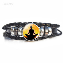 7 chakra Yoga Charm Bracelets OM Meditate Meditation Yogi Lotus Weave Rope Bracelet Women Men Leather Gift