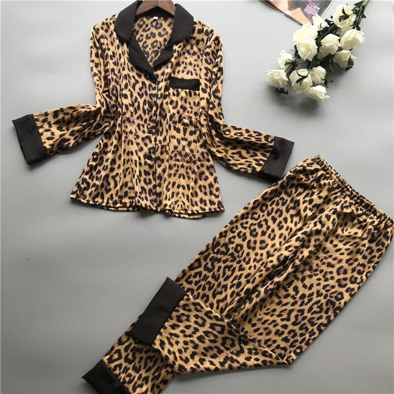 2019 Summer Women Pajamas Sets With Pants Silk Homewear Satin Leopard Print Sexy Pijama Long Sleeve Pyjamas Thin Sleepwear