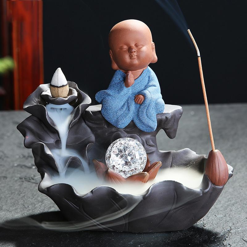 Backflow Incense Burner Ceramic The Little Monk Stick Incense Holder Creative Home Decor Smoke Waterfall Aromatherapy Censer