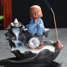 Backflow Incense Burner Ceramic The Little Monk Stick Holder Creative Home Decor Smoke Waterfall Aromatherapy Censer