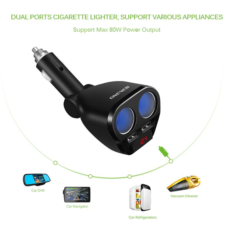 Image 4 - 1 To 2 120W 12V 24V Car Cigarette Lighter Socket Splitter Hub Power Adapter With Dual USB Charger Car Kits White/Black-in Cigarette Lighter from Automobiles & Motorcycles