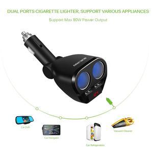 Image 4 - 1 To 2 120W 12V 24V Car Cigarette Lighter Socket Splitter Hub Power Adapter With Dual USB Charger Car Kits White/Black