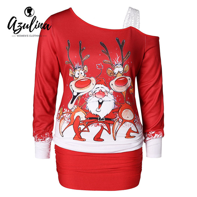 c680aa61252 AZULINA Women T-Shirt Casual Plus Size Women Clothing Christmas Elk Print  One Shoulde Blouson T-Shirts Female Big Size 5XL Tops