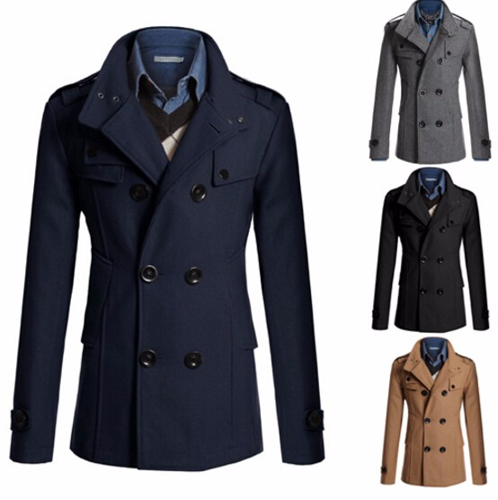 Fashion Slim Fit Long Coat Warm Double Breasted Coat Jacket Black Gray Navy Camel Solid Color Fashion Windbreaker Winter   Trench