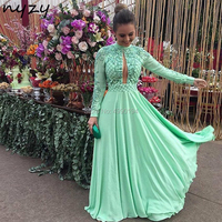 NYZY E17 Sexy Luxury Long Dresses Evening Crystal Dress Mint Chiffon Open Bust High Neck Long Sleeves Formal Dress Party Prom