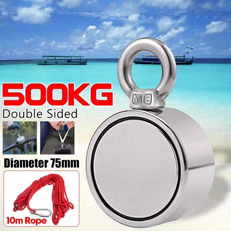 500KG Double-sided Powerful Round Neodymium Magnet Hook Salvage Magnet Sea Fishing Equipments Holder with Ring and 10M Rope