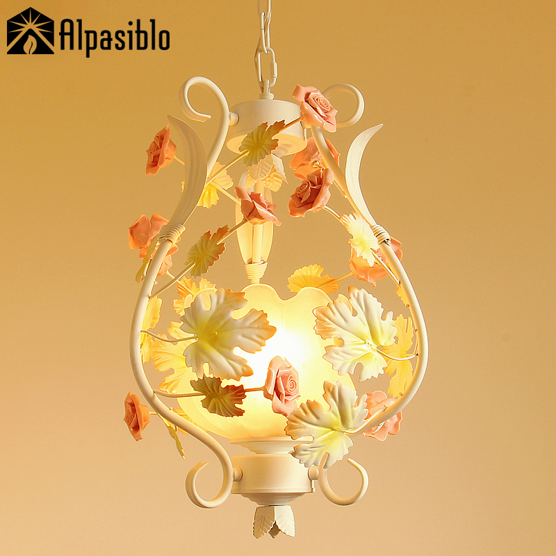 Rose Chandeliers Glass Lampshade Rustic Aisle Light Indoor Lighting Led Corridor Lamp Pink Rose And Leaves Korean Country Style