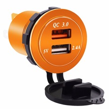 For Car Boat Motorcycle 1pc Universal Charger Dual USB Phone 12V-24V QC3.0 Quick Charging Socket Adapters Mayitr